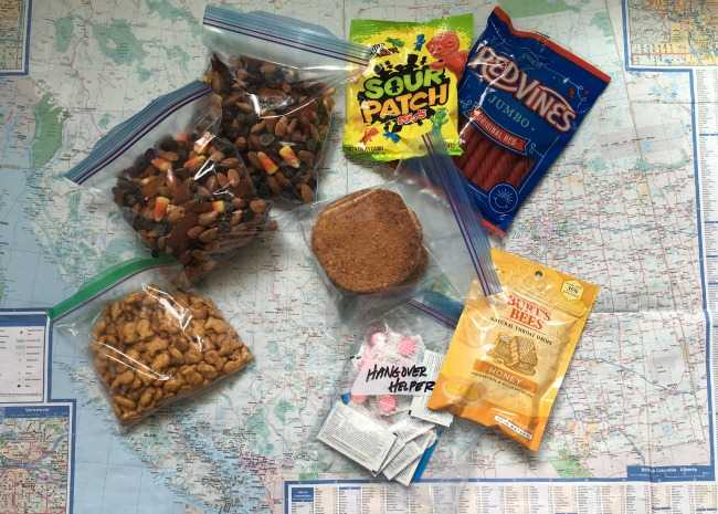 edited care package with trail mix