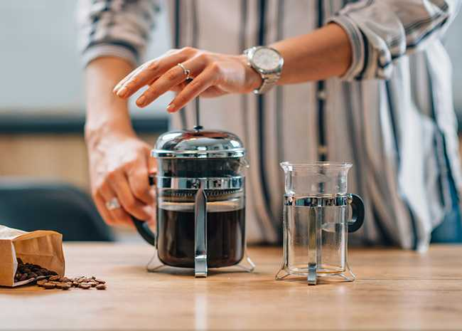 how to make the best french press coffee allrecipes. Black Bedroom Furniture Sets. Home Design Ideas