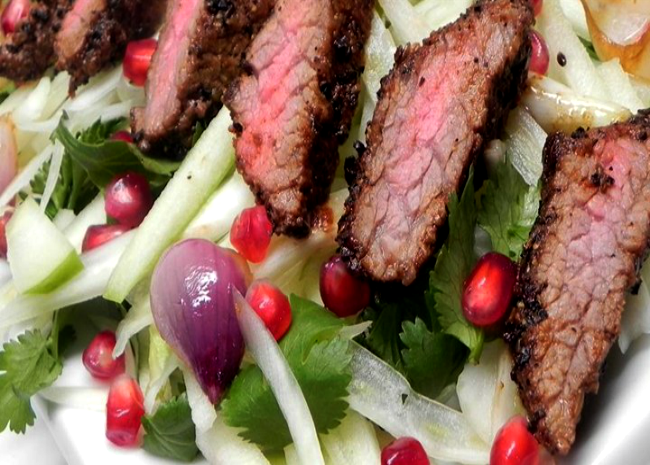 gabe's coffee-crusted hanger steak with apple fennel and herb salad. photo by soup loving nicole.