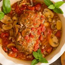 Mushroom Meatloaf in Tomato Sauce