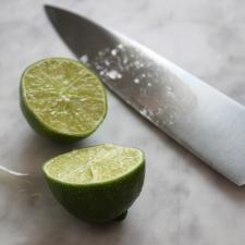lime sliced with knife